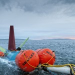 Deployment of Nautricity turbine at EMEC Shapinsay Sound test site (Credit Mike Brookes-Roper, courtesy of Nautricity)