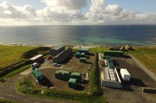 EMEC Caldale substation and hydrogen plant (Credit Orkney Sky Cam, courtesy of EMEC)
