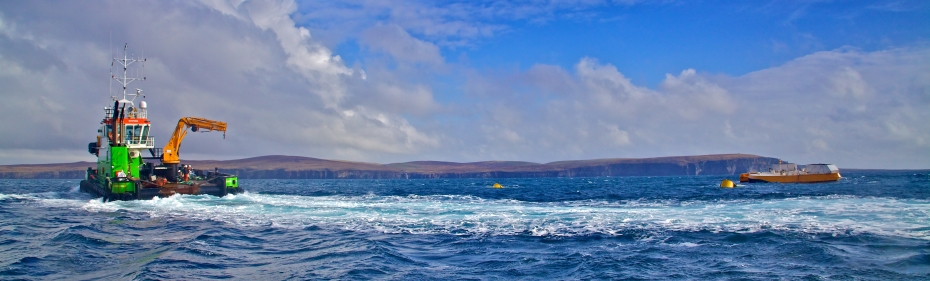 Marine install Wello Penguin at EMEC wave test site at Billia Croo (Credit Colin Keldie, courtesy of CEFOW)