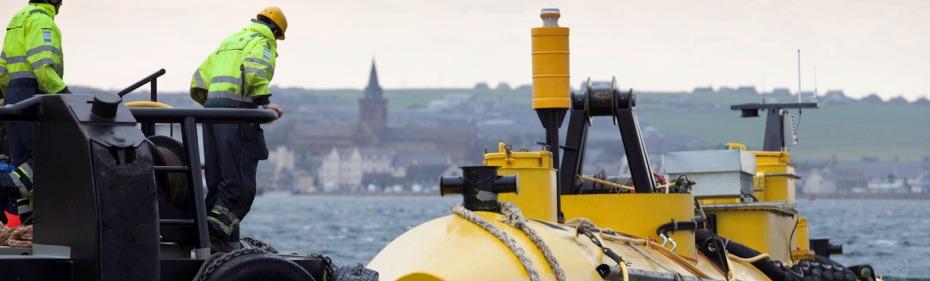 ScotRenewables device entering Kirkwall harbour
