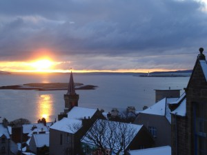 Watching the sunrise from the EMEC offices on a snowy morning in Stromness