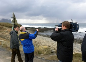 Japanese 'Nippon TV' interviewing Neil Kermode at the EMEC wave test site at Billia Croo in 2011