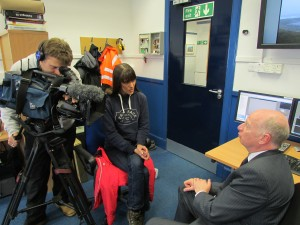 BBC's Jenny Hill interviewing Neil Kermode in the EMEC Operations room for BBC Breakfast News in 2013