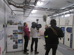 German TV channel ZDF interviewing Eileen Linklater in the EMEC substation at Billia Croo