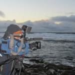 CNN cameraman filming waves at Billia Croo, EMEC wave test site