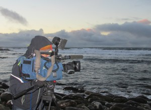 CNN cameraman filming waves at Billia Croo, EMEC wave test site
