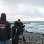 CNN filming at EMEC's wave test site. Aquamarine Power's Oyster 800 can be see operating in the background.