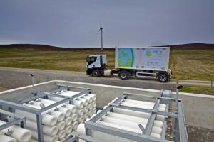EMEC hydrogen storage cylinders, mobile storage unit, and Eday turbine (Credit Colin Keldie)