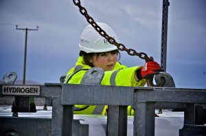 EMEC's Operations Technician performing maintenance on the Hydrogen plant on Eday (credit Colin Keldie)