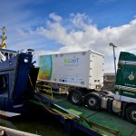 Hydrogen mobile storage unit coming off Shapinsay ferry (Credit Colin Keldie, courtesy of BIGHIT)