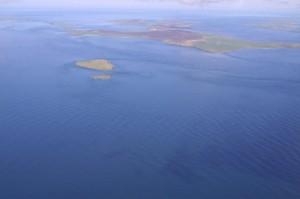 Aerial view of Fall of Warness, EMEC tidal test site (Image Aquatera)