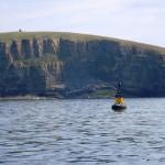 Cardinal buoy at Billia Croo and wildlife observations point at Black Craig (Image EMEC)