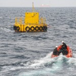 Deployment of EMEC test support buoy at scale wave site (Image Mike Brookes-Roper)