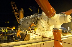 Deployment of HS1000 tidal turbine at EMEC test site (Image Andritz Hydro Hammerfest)