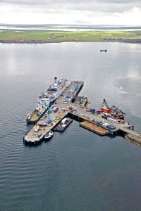 Newly extended pier at Hatston rife with tidal energy activity (Image K4 Graphics)