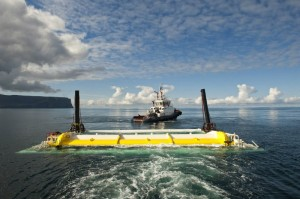 Oyster 800 wave energy device installation in Orkney (Image Aquamarine Power Ltd)