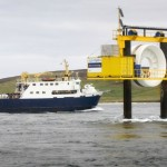The Earl Sigurd passing the Open Hydro test rig (Image Open Hydro)