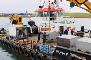 Transportation of ballast block moorings to the EMEC scale tidal site (Image Mike Brookes-Roper)
