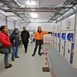 EMEC's Chris White provides delegates with a tour of the EMEC substation at Billia Croo (Credit: Colin Keldie)