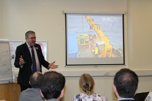EMEC's Stuart Baird updates delegates on the challenges and successes of EMEC's integrated monitoring pod: International WaTERS workshop, ICOE 2016