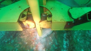 A subsea photo at 35m depth of an anchor being drilled into the seabed at EMEC, Orkney (Credit SME)
