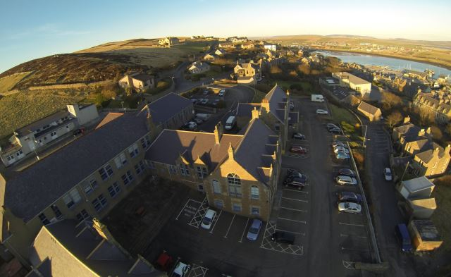 Aerial of the Old Academy Building (foreground) and Old Stromness Primary School (background) which will form part of the new renewables campus (Credit Sula Diving)