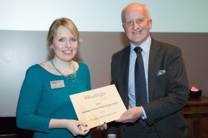 Professor John Loughhead, Chief Scientific Adviser, BEIS, presented EMEC's Eileen Linklater with the Marine and Hydro Energy Award (Credit: Barney Newman, courtesy of Eventure Media)