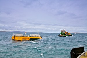 Green Marine transport Wello Penguin to EMEC wave test site at Billia Croo (Credit Colin Keldie, courtesy of CEFOW)