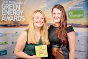 EMEC winner Caitlin Long and previous winner Lisa MacKenzie (Credit Scottish Renewables)