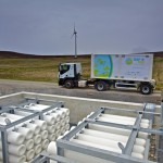 EMEC hydrogen storage cylinders, mobile storage unit, and Eday turbine (Credit Colin Keldie)