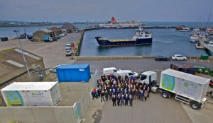 Paul Wheelhouse, Surf n Turf project partners and suppliers with hydrogen fuel cell, mobile storage units and local ferry, Kirkwall Pier (Credit Colin Keldie)