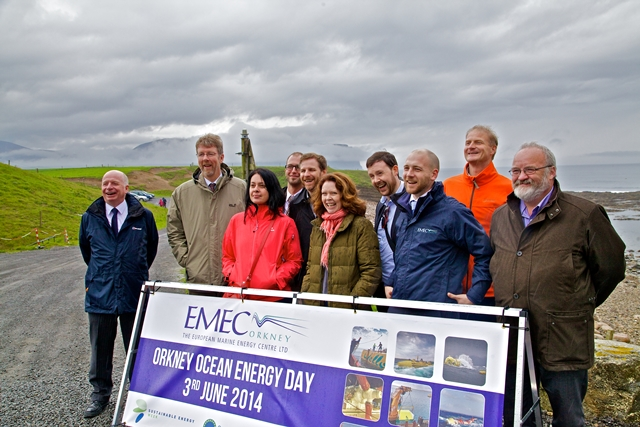 Calum Davidson (right) at EMEC's Billia Croo wave energy test site in 2014 (Credit: Colin Keldie)