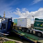 Hydrogen mobile storage unit coming off Shapinsay ferry (Credit Colin Keldie)