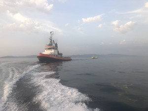 The ATIR being towed from Vigo to EMEC in Orkney (Credit Magallanes)