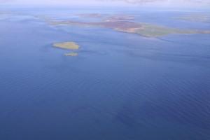 20060324 Aerial view of EMEC tidal test site at the Fall of Warness (Credit Aquatera)