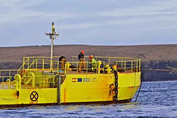 Crew onboard the ATIR tidal device (Credit Colin Keldie)