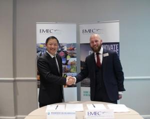 Oliver Wragg EMEC and Professor Shi QNLM (Credit: EMEC)