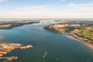 Arial view of Milford Haven waterway, home to META (Credit Marine Energy Wales)