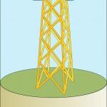 Steel jacket tower; wide-spread suitability.