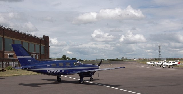 The ZeroAvia Piper M-class aircraft in the HyFlyer project at Cranfield Airport (credit ZeroAvia)