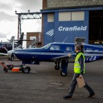 The ZeroAvia Piper M-class aircraft being taken out of the hangar (Credit Stanton Media)