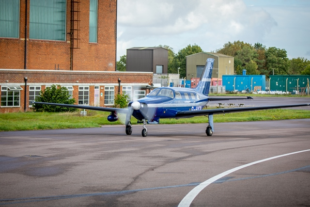The ZeroAvia aircraft on runway preparing for the hydrogen-electric flight (credit Stanton Media)