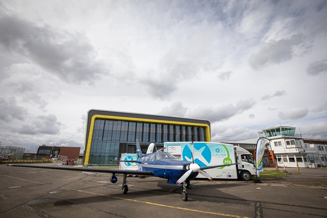 EMEC's hydrogen refuelling solution supporting ZeroAvia's test flight programme at Cranfield Airport in HyFlyer I (Credit Stanton Media)