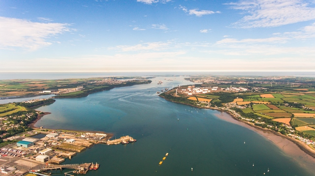 Arial view of Milford Haven waterway, home to META (Credit Marine Energy Wales)