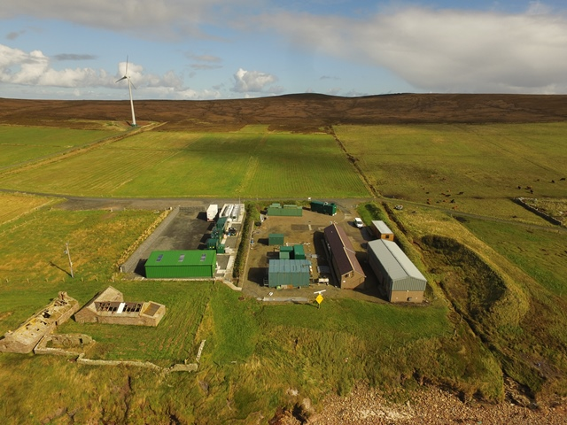 EMEC hydrogen production plant, Caldale, Eday (Credit, Orkney Sky Cam, courtesy of EMEC)