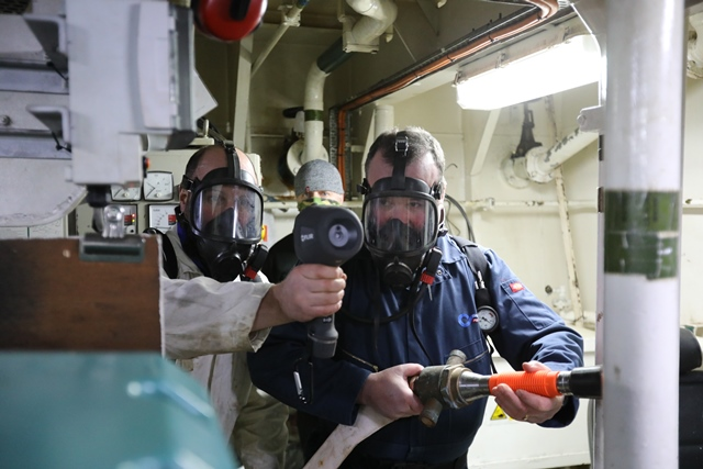 Orkney Ferries crew members completing a hydrogen fire safety drill (Credit Colin Keldie, courtesy of HyDIME)