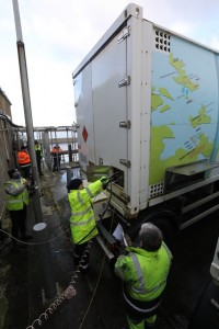 Bunkering simulation at Kirkwall Pier Fuel Cell (Credit Colin Keldie, courtesy of HyDIME)