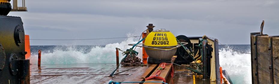 Waverider buoy prior to deployment at EMEC wave test site (Credit Colin Keldie)