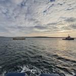 Orkney Harbours tug towing ATIR platform to EMEC test site
