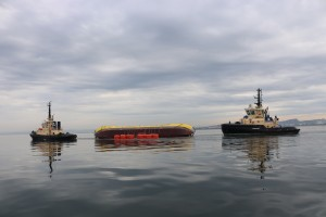 ATIR platform positioned horizontally in sea, using a system of buoys (Credit Magallanes Renovables)